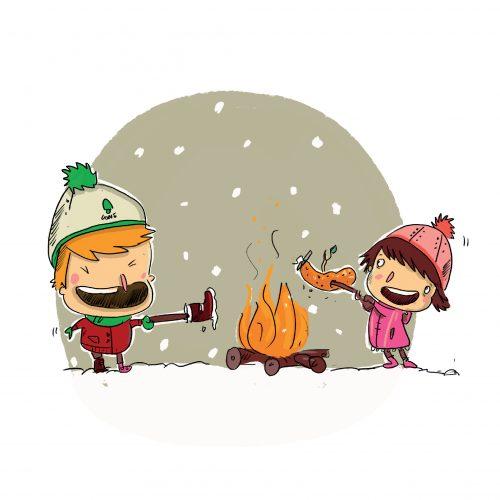 hiver feu saucisse neige