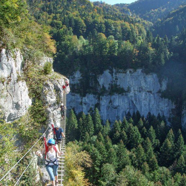 via ferrata echelles de la mort doubs jura pays horloger suisse vallee pont de singe