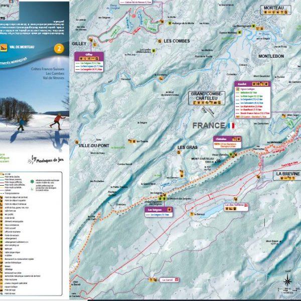 plan pistes ski de fond val de morteau pays horloger doubs jura